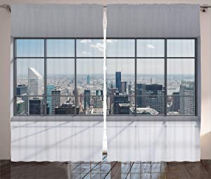 "Ambesonne City Curtains, Clean Office with Big Window Downtown Skyscraper Buildings Domestic Cityscape Art, Living Room Bedroom Window Drapes 2 Panel Set, 108"" X 90"", Grey Blue"