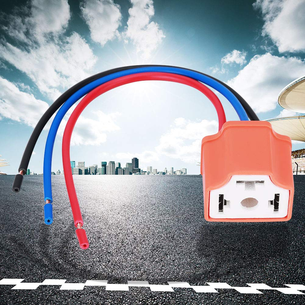 Terisass H4 9003 Female Ceramic Plug Headlamp Adapter Converter Cable Wiring Harness Plug Socket