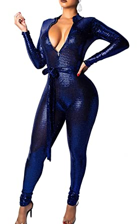 f0c8f97a25d Voghtic Women Sexy Night Club Jumpsuits Glitter Hot Drilling Long Sleeve  Christmas Rompers