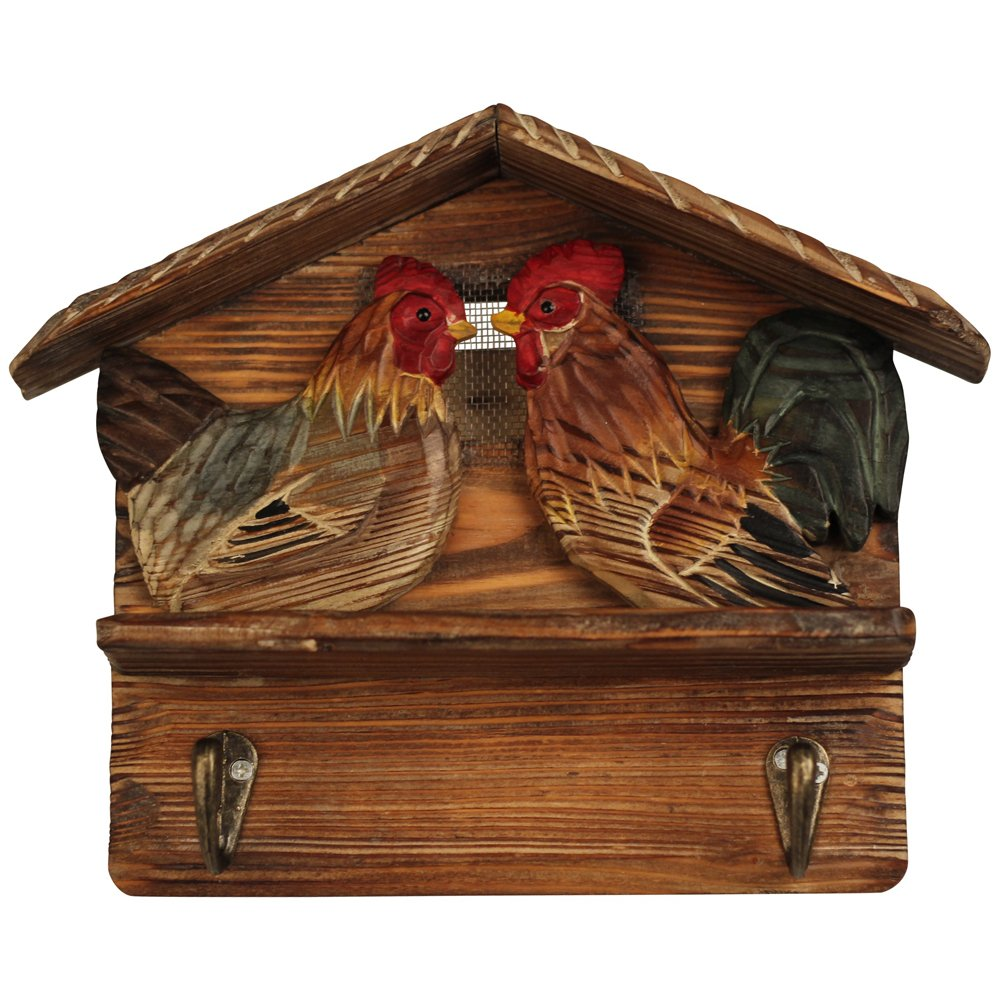 Comfy Hour 7'' Hand Carved Wooden Farm Animals Chicken Double Coat Hooks Clothes Rack Decorative Wall Hanger