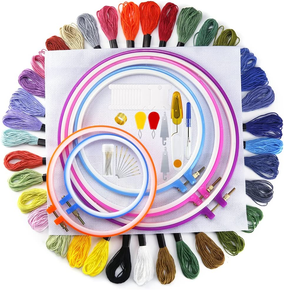Hand Embroidery Starter Kit 2 Pieces Aida Cloth 100 Colors Embroidery Threads 30 Sewing Pins Cross Stitch Tool and Embroidery Starter Kit for Adults Beginners 5 Pieces Plastic Embroidery Hoops