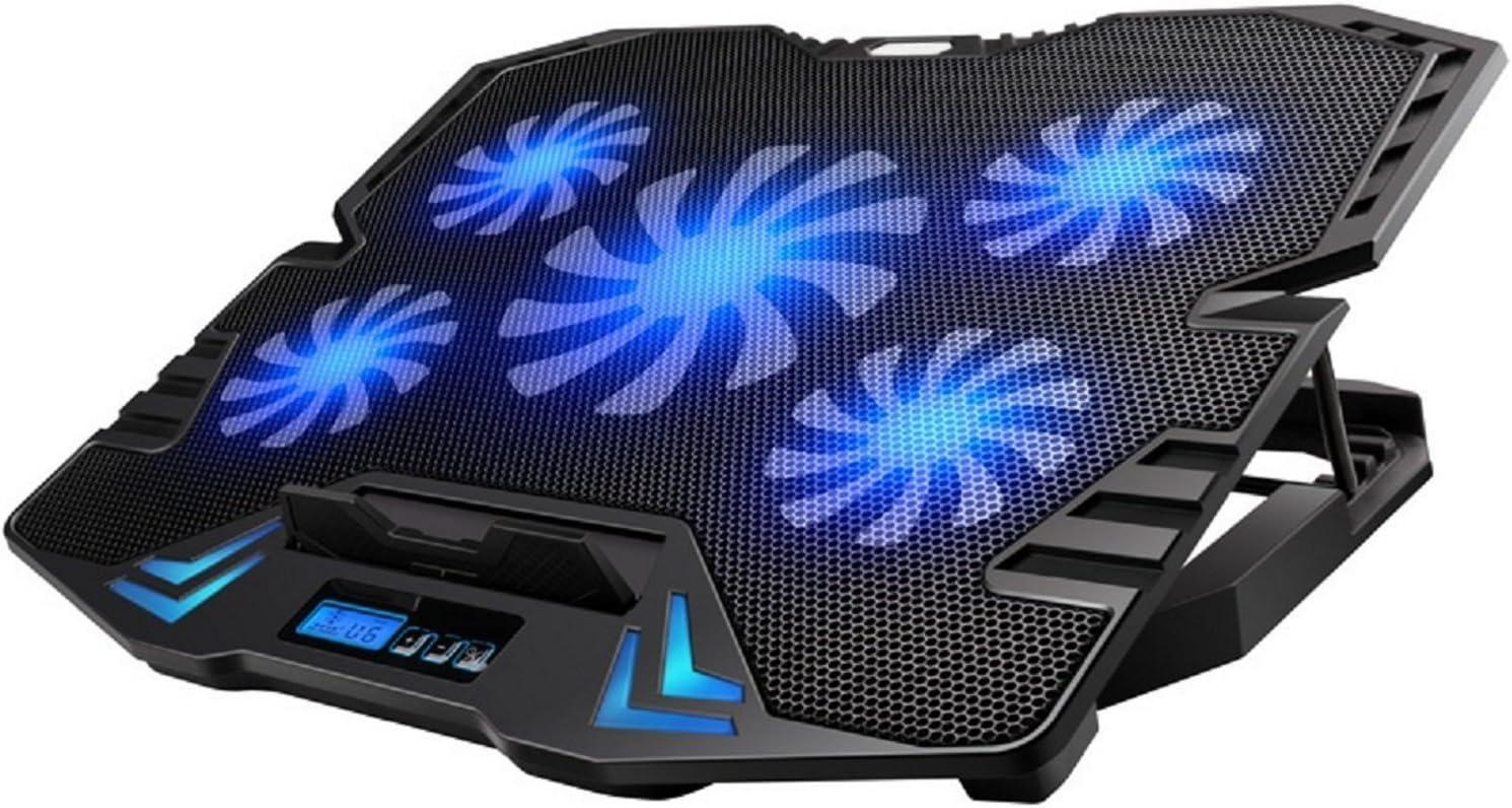 Ewent EW1259 Base de refrigeración gaming para ordenador portátil de 12 a 17 pulgadas con 2 puertos USB, 5 ventiladores, luz LED azul, selección de angulo de vista