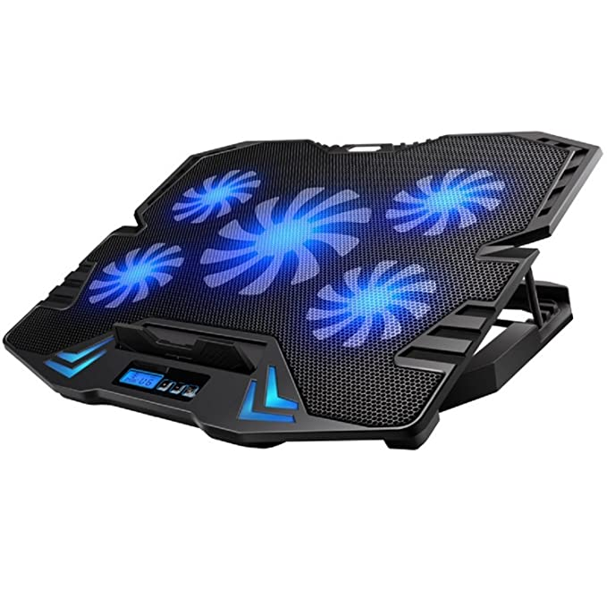Ewent EW1259 Base de refrigeración gaming para ordenador portátil de 12 a 17 pulgadas con 2 puertos USB, 5 ventiladores, luz LED azul, selección de angulo ...
