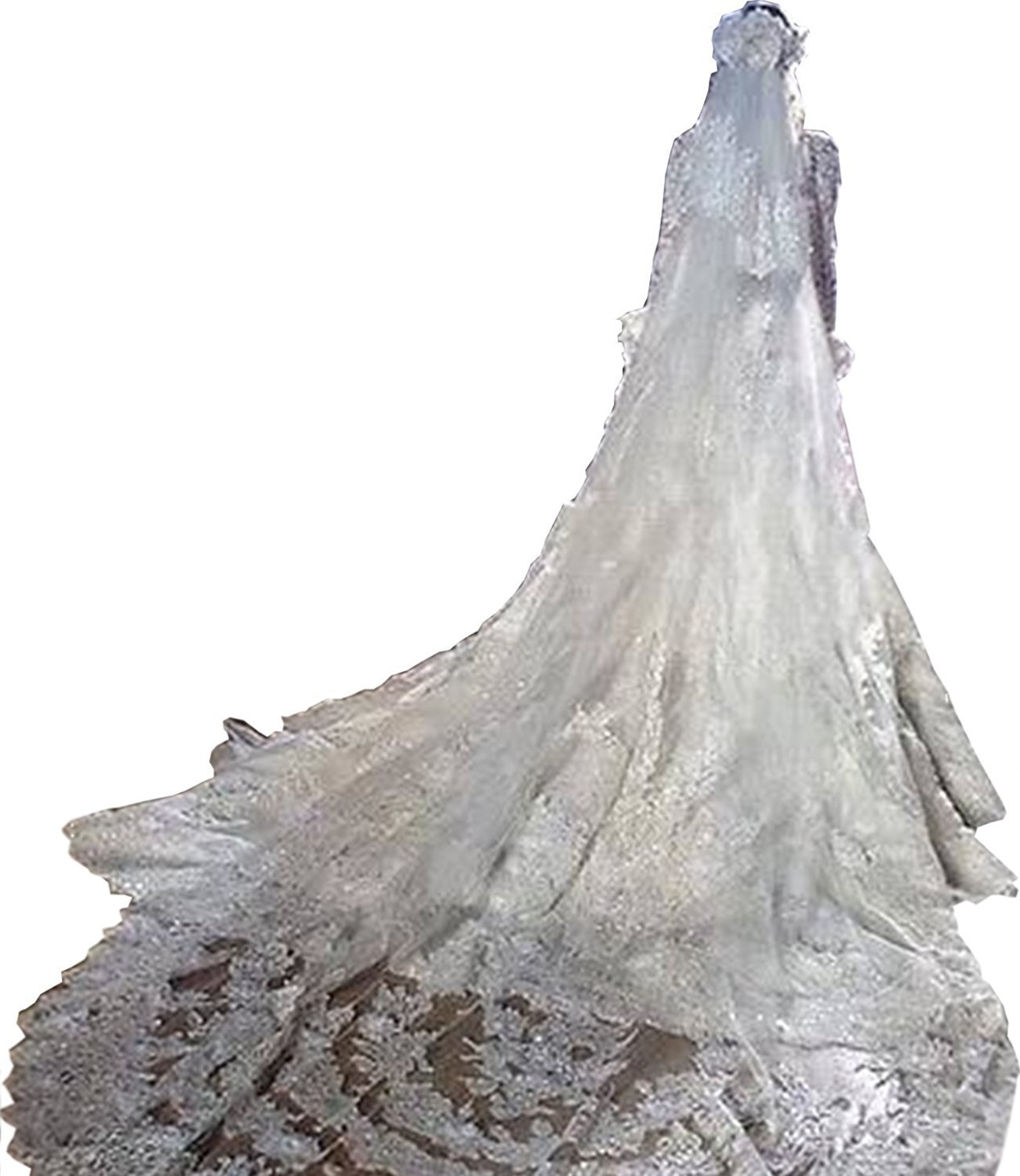 Wishopping Women's 2 Tier Wedding Bridal Veil With Comb Ivory WS06