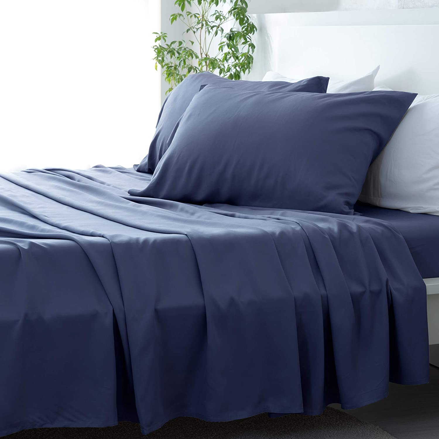 David's Home Pure Bamboo Sheets Set Twin Size Navy, 100% Bamboo Cooling Sheets Set with Deep Pocket, Silky Soft and Breathable Bedding Sheets Set, 4PCS , Hypoallergenic