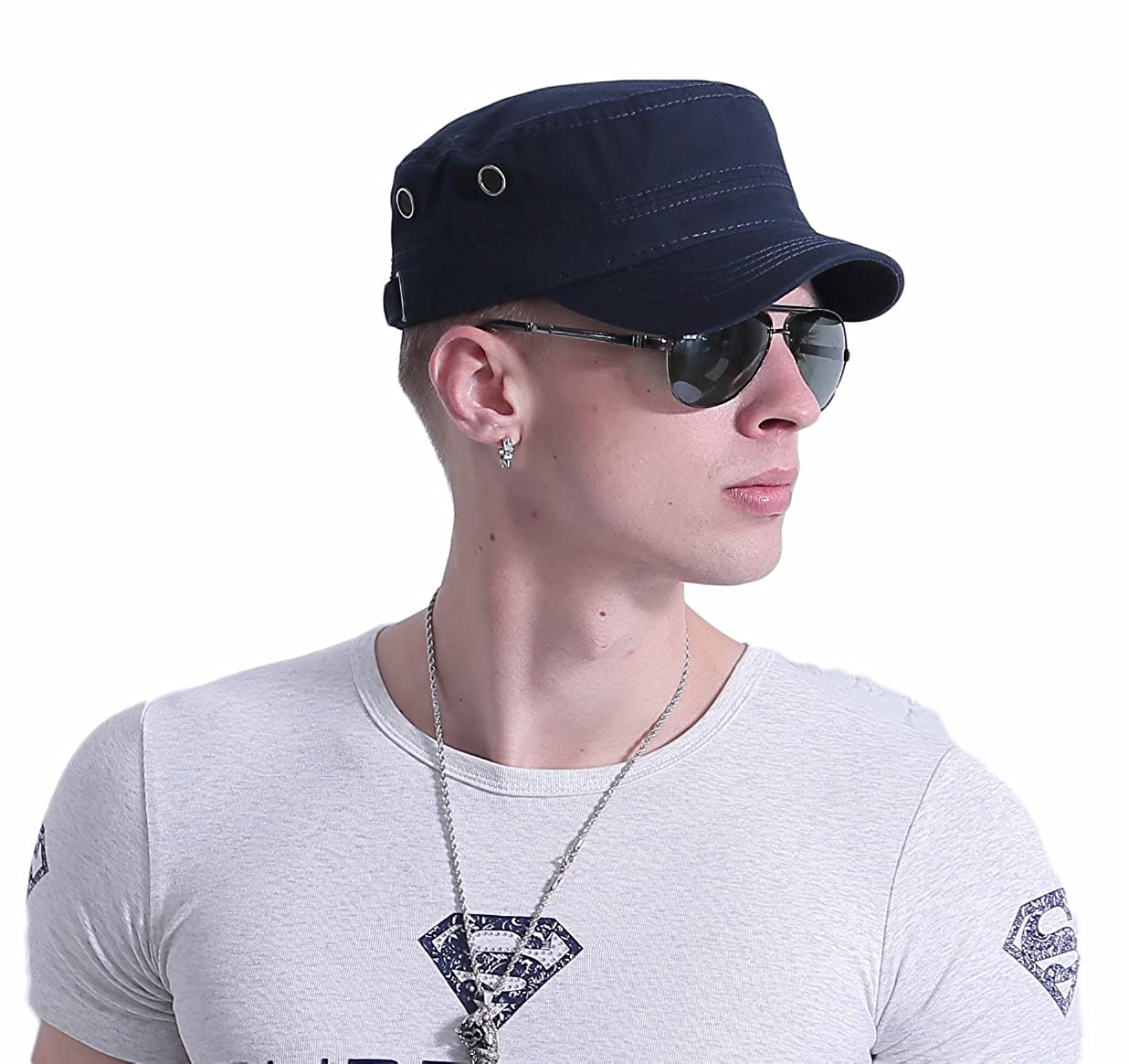 CACUSS Men's Cotton Army Cap Cadet Hat Military Flat Top Adjustable Baseball Cap P0064Black2