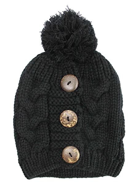 7c5cf9c117b78 Luxury Divas Black Cable Knit Slouchy Beanie Hat with Button Trim at ...