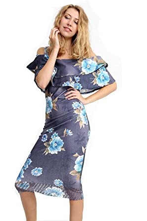 19f672851259 Image Unavailable. Image not available for. Color  Women s Floral print Off  Shoulder Bardot Bodycon Dress ...