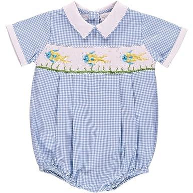 28eb3ddba Amazon.com  Carriage Boutique Baby Boy Blue Checkered Creeper ...