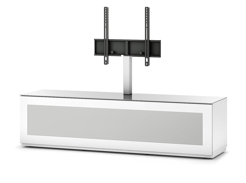 Sonorous STA 261I-WHT-WHT-BW hängende TV-Lowboard mit TV-Aufhängung, Sockel, weißer Korpus, obere Fläche, gehärtetem Weißglas und Klapptür mit IR-durchlässigem Weißglas