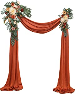 Ling's moment Artificial Wedding Arch Flowers Kit(Pack of 3) - 2pcs Terracotta Aobor Floral Arrangement with 1pc Burnt Orange Fabric Swag for Ceremony and Reception Backdrop Decoration