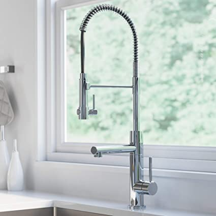 Kraus Kpf 1603ch Atrec 2 Function Commercial Style Pre Rinse Kitchen Faucet With Pull Down Spring Spout And Pot Filler 24 3 4 Inch Chrome Finish