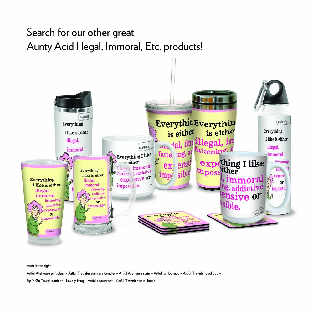 18-Ounce Tree Free VB47843 Tree-Free Greetings Aunty Acid Artful Traveler Stainless Steel Water Bottle