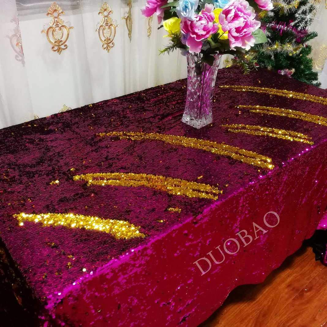 DUOBAO 72x108-Inch Rectangle Sequin Tablecloth Fuchsia to Gold Mermaid Sequin Table Cover Glitter Table Cloths for Wedding/Party/Kitchen decorations-0612H