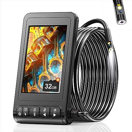 Skybasic Dual Kameras Endoskopkamera 1080p Industrie Endoskop Hd Digitale Wasserdichte Inspektionkamera 4 3 Zoll Bildschirm Schlangenkamera 6 Led Leuchten Halbstarrem Kabel 32 Gb Karte 16 5 Fuß Auto