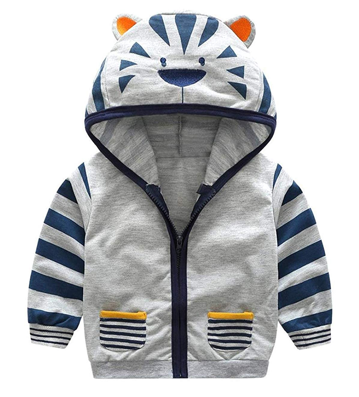 Toddler Baby Boys Cute Cartoon Animal Hooded Zipper Jacket Coat Tops Clothes