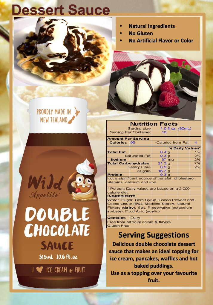 Wild Appetite, Double Chocolate Sauce 2 pack, 2 x 315ml (10.6oz) by Wild Appetite (Image #2)