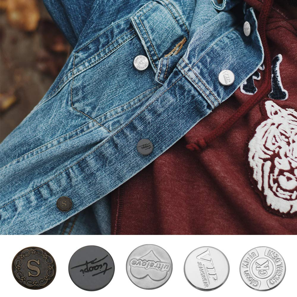 Bags 20mm Clothes Luxiv Jean No-Sew Tack Buttons for Leather 10 Sets 20mm Denim Women and Men Jeans Metal Replacement Buttons Kit with Rivet Buttons for Jeans Metal Replacement Buttons for Jeans