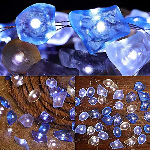 SunKite Seaglass String Lights, 8 Modes 13.85 Ft 40 Natural Beach Decor Lights LED Waterrproof Battery Operated Flickering Fairy String Lights with Remote Seaglass