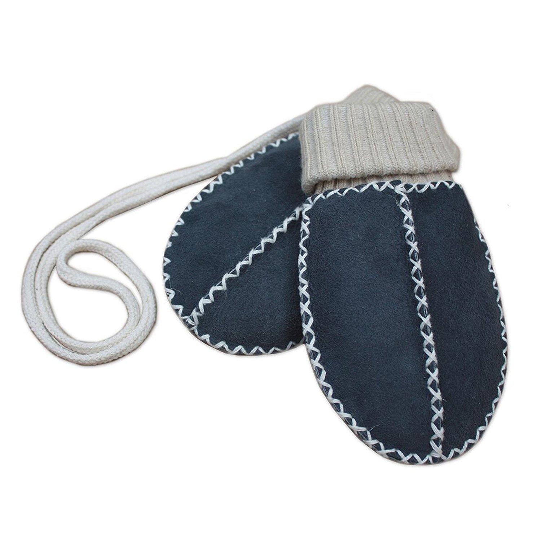 F/äustel mit Strickb/ündchen blau-anthrazit Baby-Lammfell-Handschuhe //