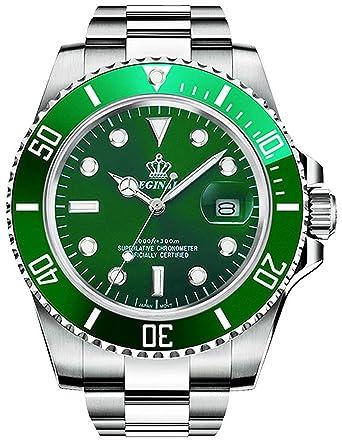 e0d54460403 PASOY Men Dress Quartz Luminous Watch Rotatable Bezel Stainless Steel Green  Dial Watchproof Watches GMT