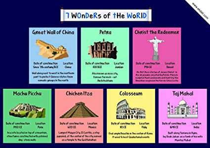 d4585874d6db1 EkDali A3 7 Wonders of The World Poster for Classroom; Home; Wall and Room  Decor (Multicolour; 11.7 x 16.5 Inches)