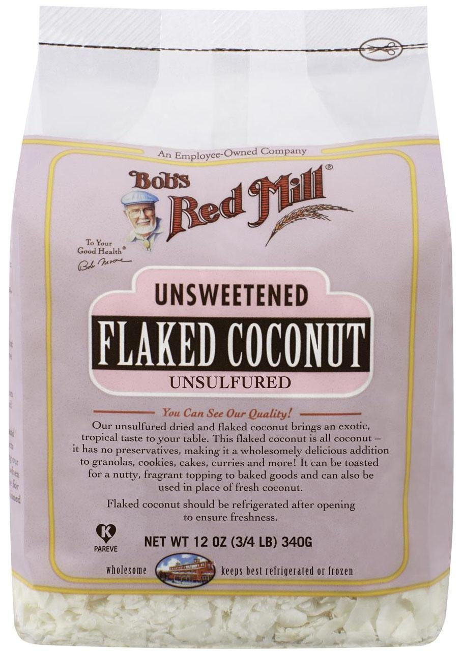Bobs Red Mill Unsweetened Flaked Coconut, 12 Ounce (3/4 LB)  340g