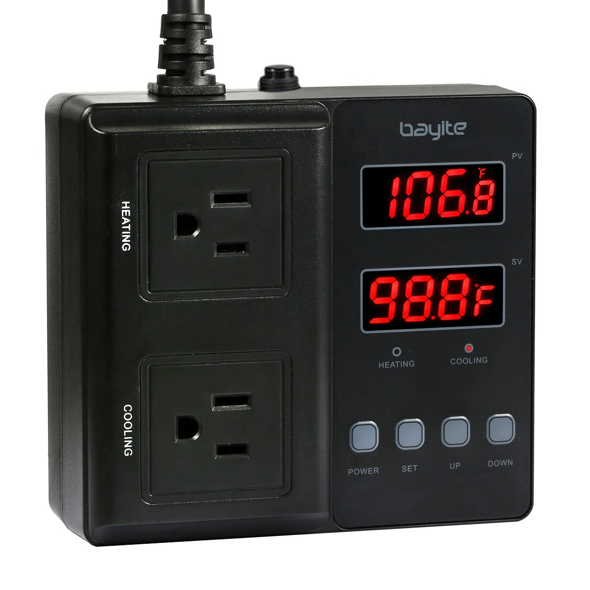 bayite Temperature Controller 1650W BTC211 Digital Outlet Thermostat, Pre-wired, 2 Stage Heating and Cooling Mode, 110V - 240V 15A