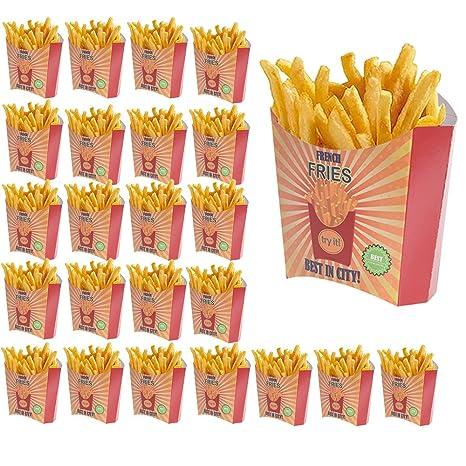 24 fundas embellecedores cavidades (cestas de patatas fritas (cartón – colores rojo naranja Vintage