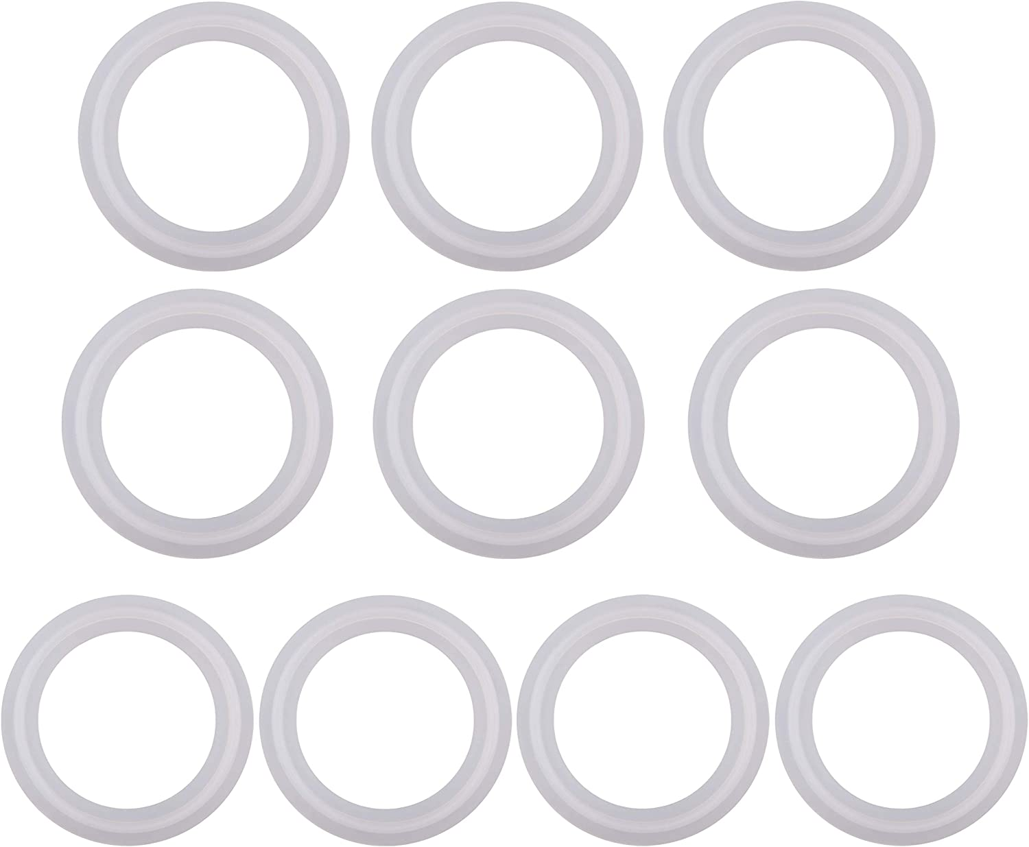 1.5 Tri clamp Size: OD: 50.5mm, ID: 34mm Dernord Silicone Gasket Tri-Clover Tri-clamp O-Ring Pack of 20