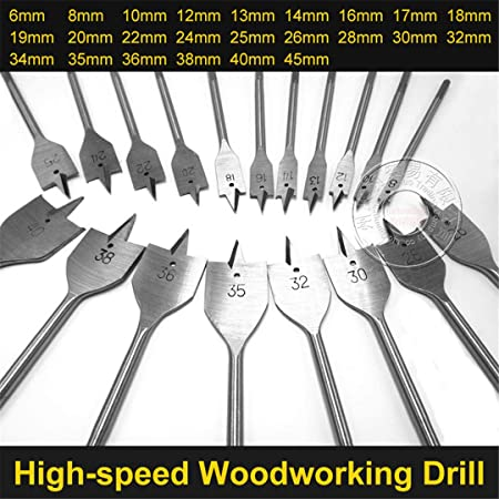 LYLLYL Door Accessories 1Pcs 6-45mm Durable Woodworking Tool Sets Flat Drill Long High-Carbon Steel Wood Flat Drills Woodworking Spade Drill Bits Hole Diameter : 6mm Silver