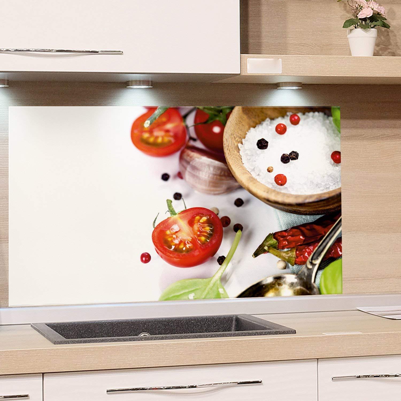 GRAZDesign K/üchenr/ückwand Glas-Bild Spritzschutz Herd Edler Kunstdruck hinter Glas Bild-Motiv Zwiebel mit Kr/äuter Eyecatcher f/ür Zuhause 60x40cm