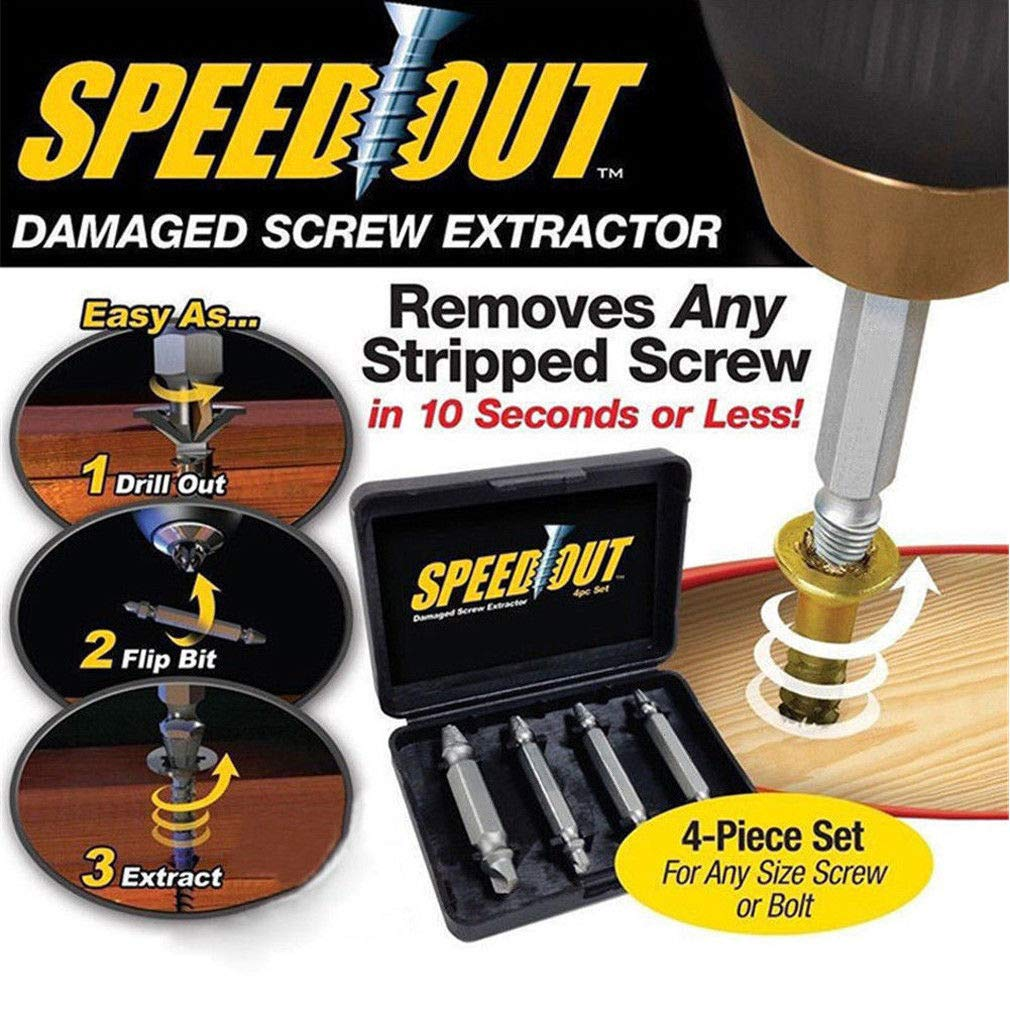 tool set of 4 Pcs Easily Remove Stripped Or Damaged Screws and Bolts Tungsten Titanium Tip Screw Remover Kit Damaged Screw Extractor Set