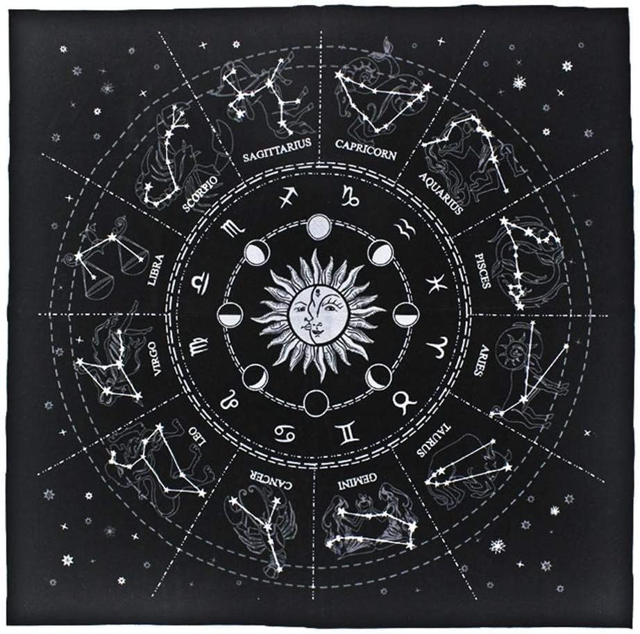 winnerruby Nappe Tarot 12 Constellations Astrologie 50x50CM Nappe Sp/éciale Tarot Accessoires Tarot pour Femme