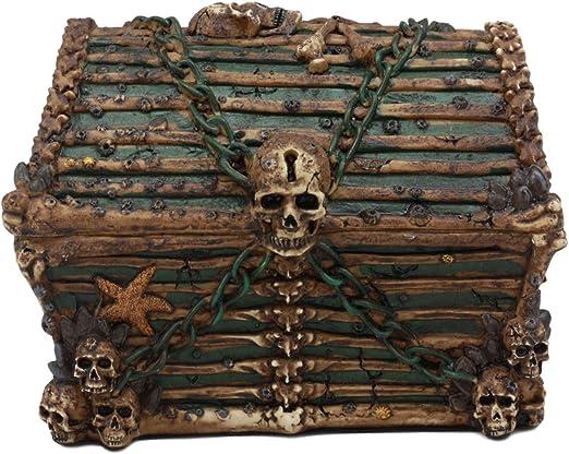 Caribbean Pirates Haunted Chained Skull Treasure Chest Box Jewelry Box Figuri...
