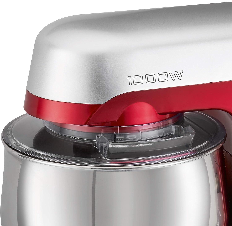 Clatronic KM 3709 - Robot Batidora amasadora repostería capacidad de 5 litros, velocidad regulable electrónica, 1000 W color rojo + báscula cocina: ...