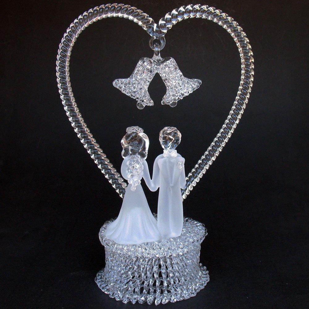 Amazon Bride And Groom Figurine Hand Blown Glass Wedding Cake Topper Kitchen Dining
