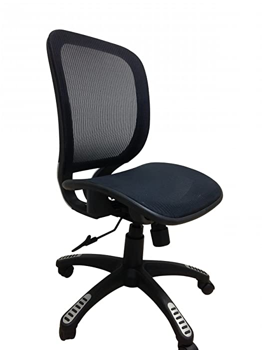 ErgoMax Fully Meshed Ergonomic Height Adjustable Office Chair no Armrests & no Headrest, 42 Inch Max, Black