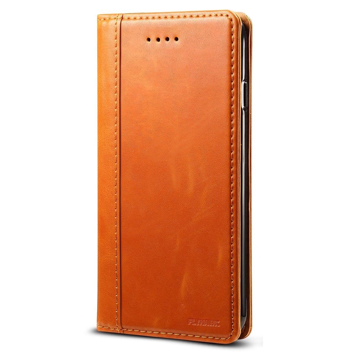 INFLATION iPhone 7ケース、カーキレザーウォレットケース、カードクリップカバーケース   B07DC1GTVM