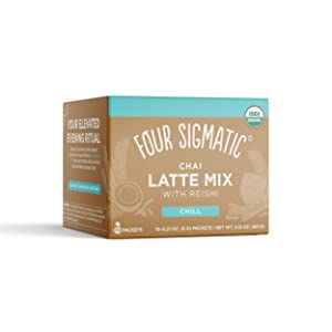 Four Sigmatic Chai Latte, Organic Instant Chai Latte with Turkey Tail, Reishi Mushrooms & Coconut Milk Powder, Support Gut & Digestion Health, Decaf + No Dairy, 10 Count