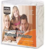 Utopia Bedding Waterproof Bamboo Mattress Protector - Hypoallergenic fitted Mattress Cover - Breathable Cool Flow Technology - Vinyl Free (King)