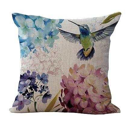 Cushion Covers 45 cmx45 cm/18 x 18 estilo Vintage Girasol Flores Azul Flores Gris