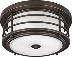 Sea Gull 7824452-71 Sauganash Outdoor Ceiling Flush Mount, 2-Light 150 Total Watts, Antique Bronze