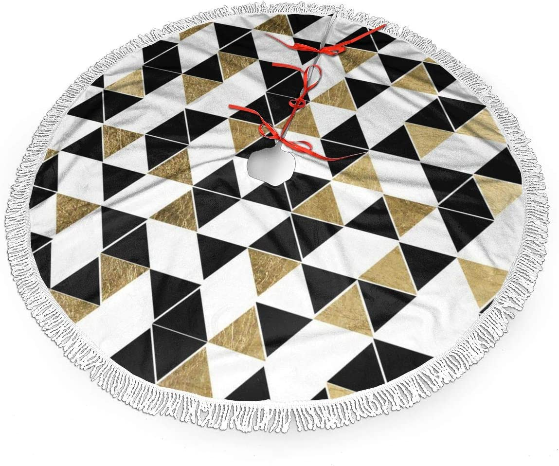 MSGUIDE Modern Black White and Faux Gold Triangles Christmas Tree Skirt Ornaments Xmas New Year Holiday Party Decorations Indoor Outdoor 48 inch Large Tree Mat