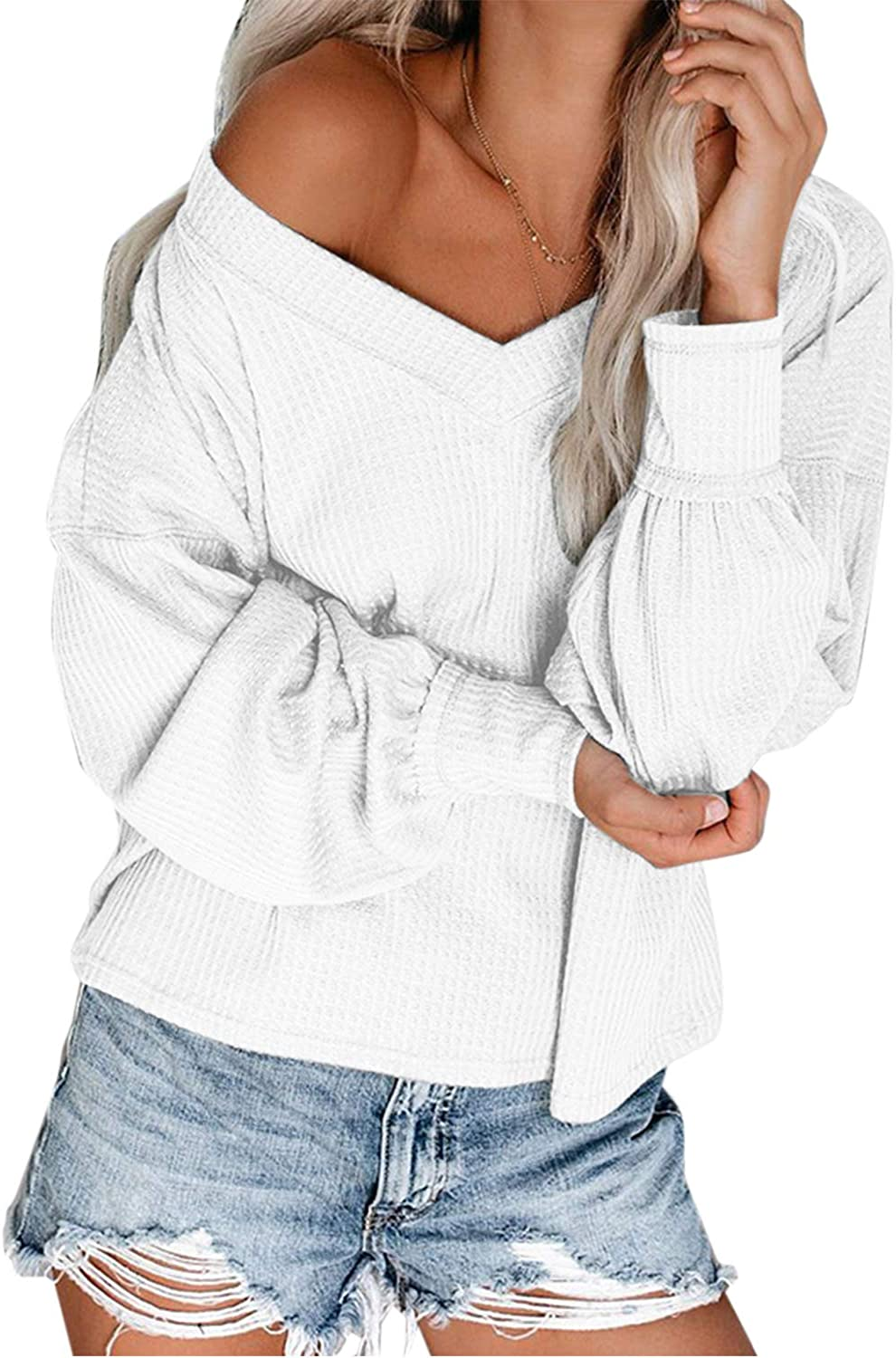 Yibihun Womens V Neck Long Sleeve Top Off Shoulder Waffle Knit Pullover Sweater