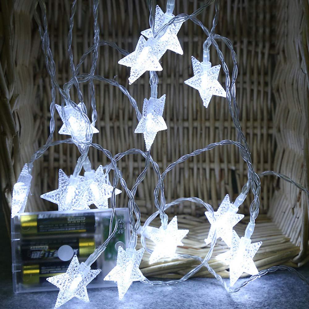 Guirlandes Lumineuses, Robemon Noël 2M 10 LED Crystal Claire Star Fée Lumière de Chaîne Mariage Party Decor Créative Extérieur Lampe à Suspension Éclairage Veilleuses Multi-color