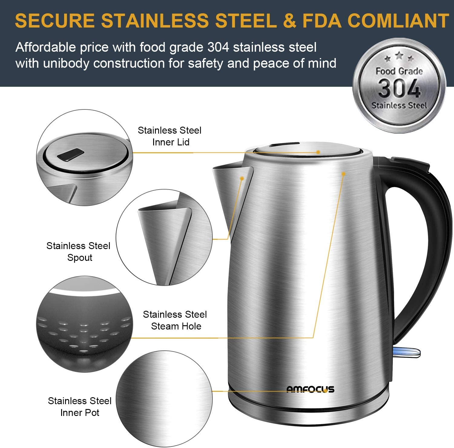 Electric Kettle, 1.7L BPA-Free Stainless Steel Water Kettle Tea Kettle with Cordless Auto Shut-Off Boil-Dry Protection, 1500W Fast Boiling, FCC FDA Approved
