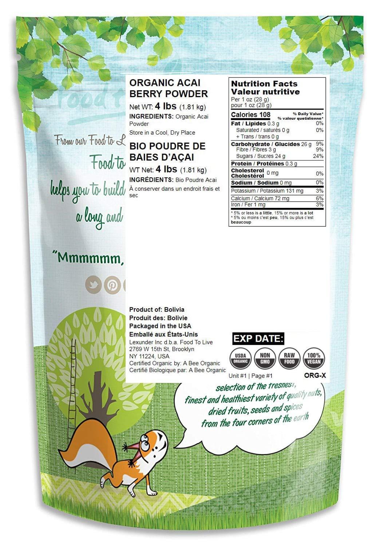 Organic Acai Berry Powder, 4 Pounds - Non-GMO, Raw, Vegan, Freeze-Dried, Unsweetened, Unsulfured, Bulk by Food to Live (Image #2)