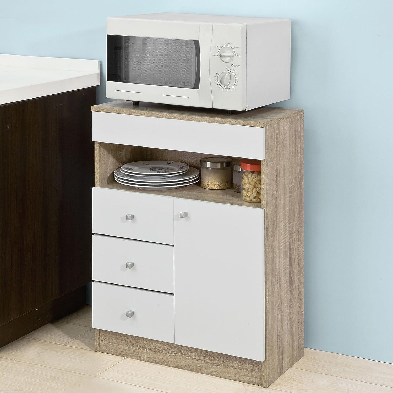 Rebaja-50% SoBuyAparador auxiliar bajo de cocina para microondas,con 1 puerta y 4 cajones,L60 cm x P29 cm x H80 cm,FSB10-WN,ES