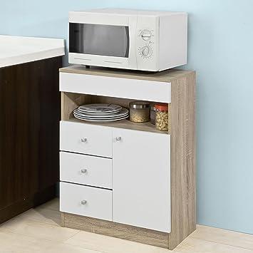 SoBuy Credenza per cucina, Cassettiera da Soggiorno, Buffet basso con 4  cassetti e 1 ante, FSB10-WN,IT